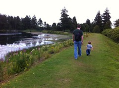 Striding out with Dad at Crombie Country Park