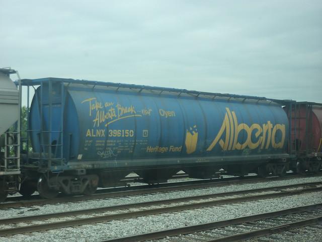 Take an Alberta Break, proclaimed a tanker in a railway yard.