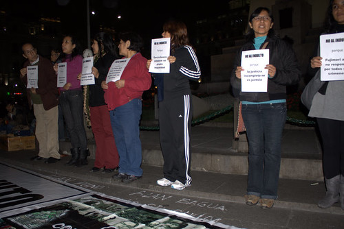 Civilians protesting against a pardon for Fujimori at Plaza San Martin on July 1st, 2011
