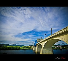 Chief John Ross Bridge (Ajinhari) Tags: sky usa chattanooga water river boat tn tokina1116mm nikond7000 chiefjohnrossbridge