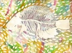 Bare Bone Fish (Marguerite1997) Tags: watercolor tropical layers fishies penink washes zentangle