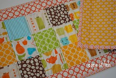 quilted table runner (coco stitch) Tags: blue orange kitchen quilt patchwork tablerunner