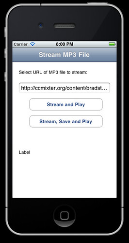 iPhone running Streaming Audio sample