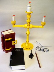 Reading and Writing Instruments (monsterbrick) Tags: pen ink book candle lego bible spectacles nib moc