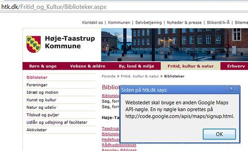 Manglende Google Maps API nøgle på http://htk.dk/Fritid_og_Kultur/Biblioteker.aspx