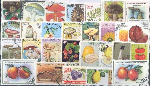 Známky - 100 rôznych, huby a plody