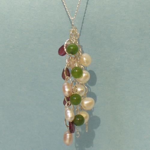 Sterling Silver Necklace – Pearls, Jade, Garnet Pendant