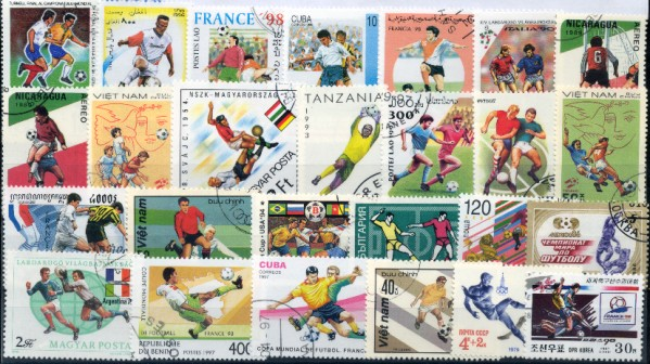 Známky - 50 rôznych, futbal