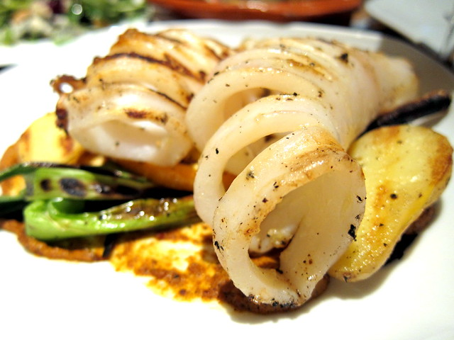 GRILLED SQUID AND FINGERLING POTATOES,  GREEN ONIONS AND ROMESCO