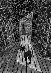 Crooked House by Andrew Hitchen  (scratch productions) Tags: door wood flowers wallpaper blackandwhite flower art strange illustration ink cat blackcat artwork drawing interior patterns perspective doorway twisted bizarre floorboards penandink indianink nurseryrhyme childrensillustration crookedhouse inkwash patternedwallpaper crookedcat