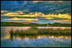 Sunset On The Lake (Konaflyer) Tags: sunset lake art water sunshine clouds reflections oso sand nikon dunes sunray flaco oceano d90 creativeartphotography promoteremotecontrol markpatton