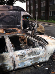 burned out car and van by Harriet (the fshlady)