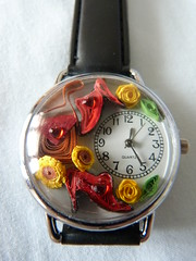 Red yellow shoe watch close up (Gregelope) Tags: colour beautiful beauty watches handmade jewellery craftsmanship papercraft quilling craftwork