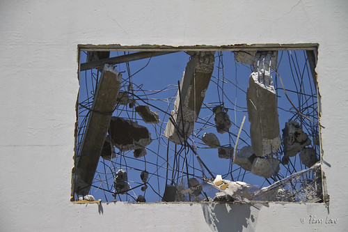 Demolished Verizon building window