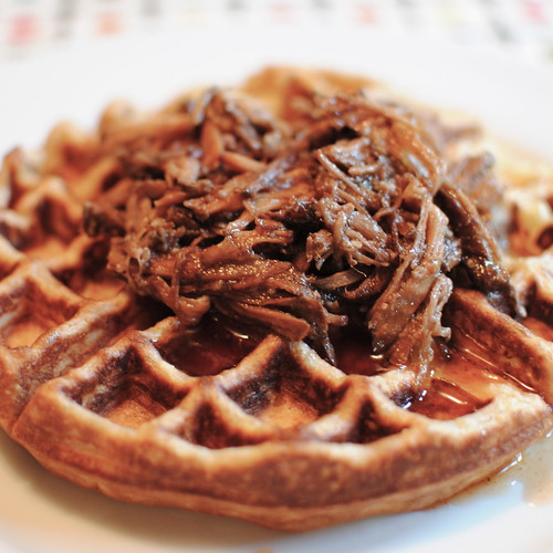 Corn Waffles Topped with Pulled Pork