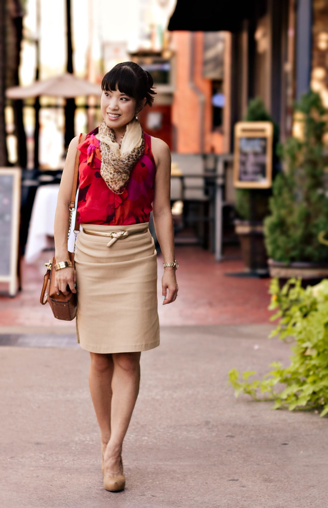 loft abstract red shell, leopard scarf, papaya camel pencil skirt, melie bianco madison, ann taylor perfect metallic gold skinny belt, mk5430, forever 21 mustard suede pumps, gold bangles