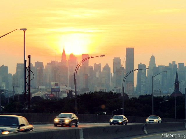Llegando a Manhattan al atardecer