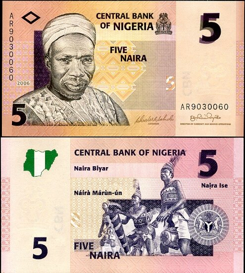 5 Naira Nigéria 2006-8, Pick 32