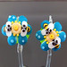 Earring Pair : Bee Blue Blossom