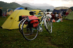 Bicycles in a campground next to Lake Toya, Hokkaido, Japan