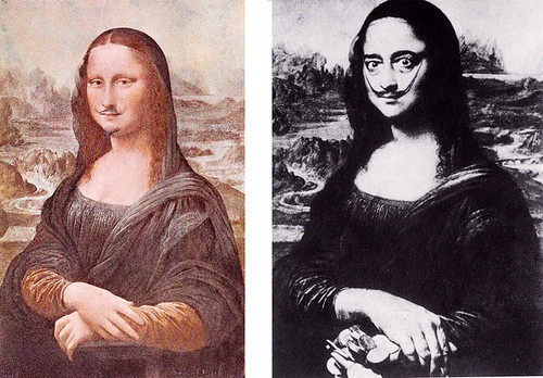 Left: L.H.O.O.Q. by Marcel Duchamp, 1919. Right: Dali as Mona Lisa by Philip Halsman, 1954.