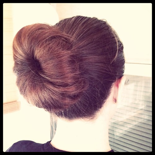 Been meaning to try this for months. D'rae Reinspired me. Sock bun hair. There is a neon green argyle sock in there.