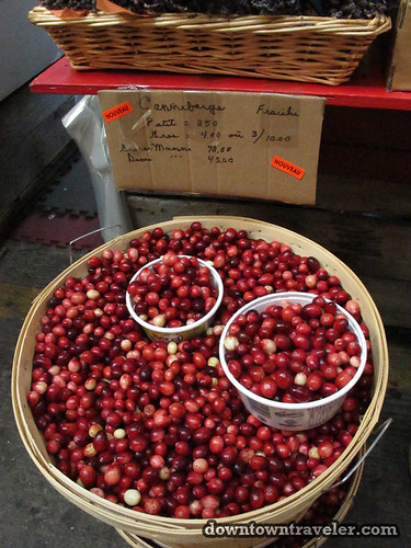 Fresh cranberries at Jean Talon market in Montreal
