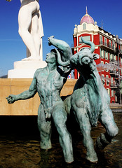 Check the competition, or, under the sun of the Midi (wamcclung) Tags: sculpture male fountain statue nude 1930s erotic riviera bull ctedazur sensual moderne artdeco nicefrance frenchriviera
