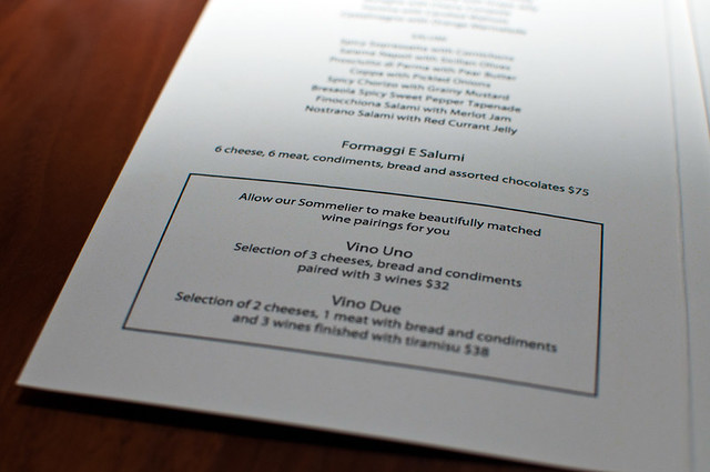 Giovane wine bar menu