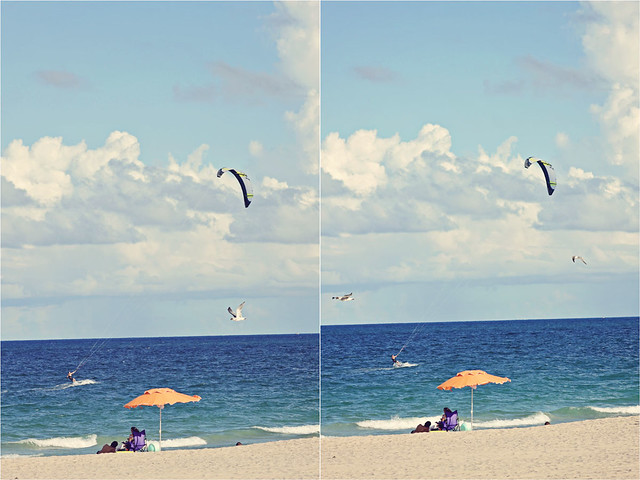Fort Lauderdale beach kitesurfer diptych