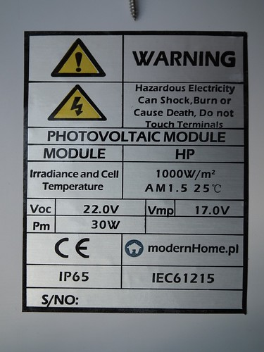 Sticker on the back of the solar panel.