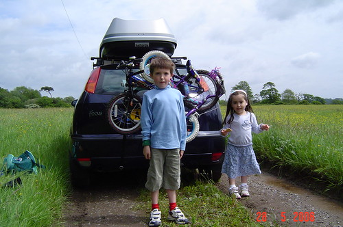 Cam and Livvy by the car
