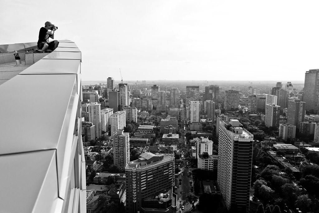 rooftop image in black and white from a condo in downtown toronto
