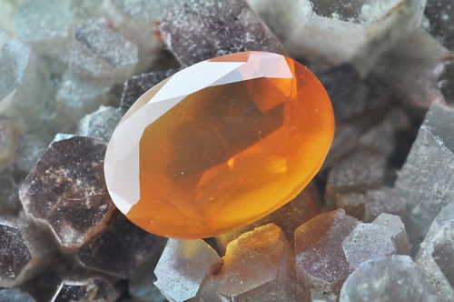 Aragonite on the Fire opal