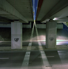 Two lines. (wojszyca) Tags: longexposure light urban 6x6 tlr night mediumformat square concrete fuji poland viaduct mat 124g pro tungsten expired katowice yashica canoscan 160 npl autaut 9000f