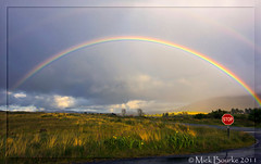 Connemara double rainbow Galway Ireland. (Mick Bourke.) Tags: flowers trees ireland light mountains galway clouds landscape golden rainbow moody colours atmosphere double hills stopsign connemara magicmoment crock potofgold sigma1020mm canon60d mickbourke