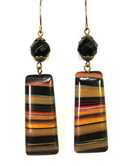 Scrap Clay Striped Earrings with Faceted Black Onysx Beads