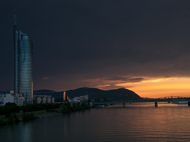 'Golden Hour' sunset over Danube River