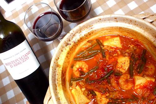 韓国風マレンゴ煮込みと Montepulciano d'Abruzzo Organic
