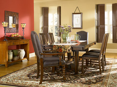 Arts and Crafts Dining Room (Behr Paint) Tags: red brown white green crimson yellow scarlet beige paint interior country tan diningroom vanilla walls taupe behr artsandcrafts neutral simpledesign premiumplus paintedshutters woodfurnishing