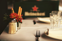 The table is ready (nina's clicks) Tags: flower glass heineken table pepper salt saltshaker plate fork vase mesa vaso redflower tenedor htt florero tipsytuesday