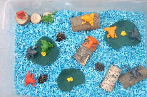 Frog-Themed Sensory Bin (Photo from Jada Roo Can Do)