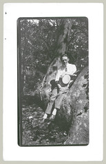 The tree thing (anyjazz65) Tags: man tree foundphotograph rppc ajo65 bloglgtree20100312 bloglgguys
