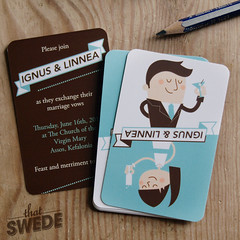 Creative Wedding Invitations (ThatSwede // Linnea Ferreira) Tags: blue brown illustration fun cards humor creative marriage moo retro business businesscards vector invites weddinginvitation moocards thatswede linneaborjesson