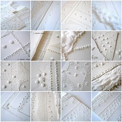 paperwork (contemporary embroidery) Tags: white mosaic silk etsy whiteonwhite available muslin artpiece pleating frenchknots ruching embroideredpaper
