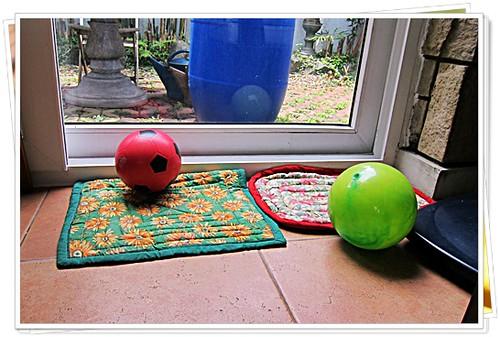 Balls near the garden