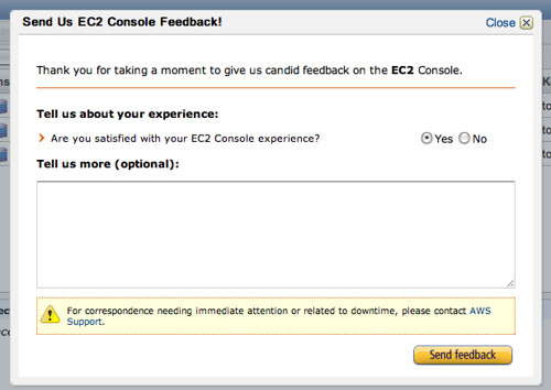 Feedback form in Management Console