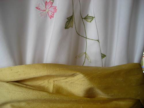 Embroidery detail and sash