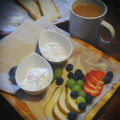 Simple breakfast meeting at The Outpost Cafe, a quaint little spot in East Vancouver. Poached eggs, fruit, and excellent buttered baguette.