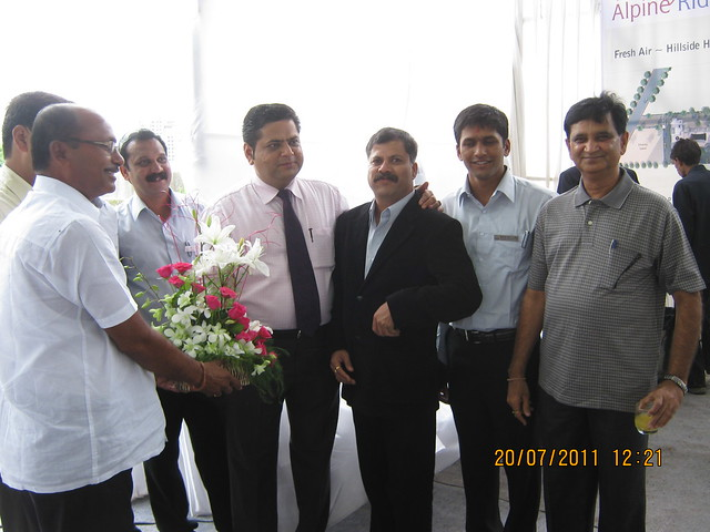Mr. Bapusaheb Murkute gives his blessings to Mr. Dhananjay Nimbalkar, M. D. Reelicon Shelters Pvt. Ltd. - Launch of Reelicon Alpine Ridge - 2 BHK, 2.5 BHK & 3 BHK Flats - Pancard Club, Baner Pune